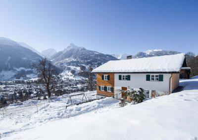 Ferienhaus Annas Muntafuner Hus Winter Schnee Ausblick auf Schruns