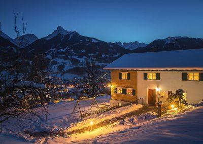 Ferienhaus Annas Muntafuner Hus Winter Schnee Ausblick