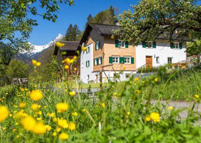 Ferienhaus Annas Muntafuner Hus Außenbereich Sommer Blumenwiese